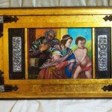 Arte: OBRA ÚNICA, OLEO SOBRE MADERA, ADORNOS REPUJADOS, HIERRO, ARTESANAL (54 X 37 CM). Lote 125134091