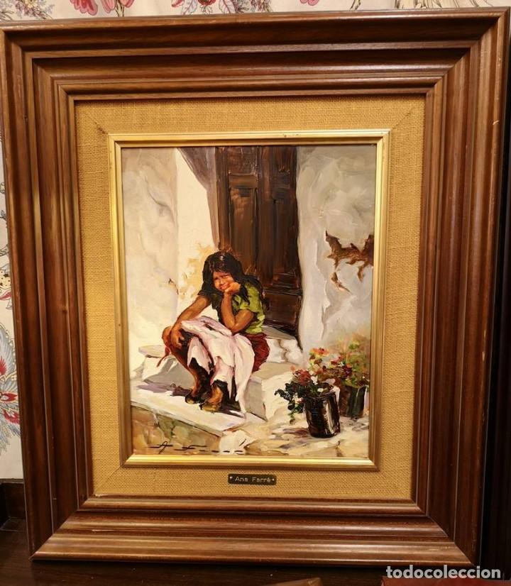 ÓLEO GITANILLA EN EL UMBRAL DE ANA FARRÉ (Arte - Pintura Directa del Autor)