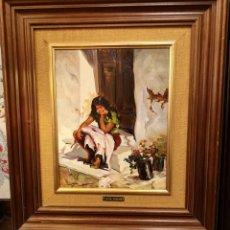 Arte: ÓLEO GITANILLA EN EL UMBRAL DE ANA FARRÉ. Lote 152651714