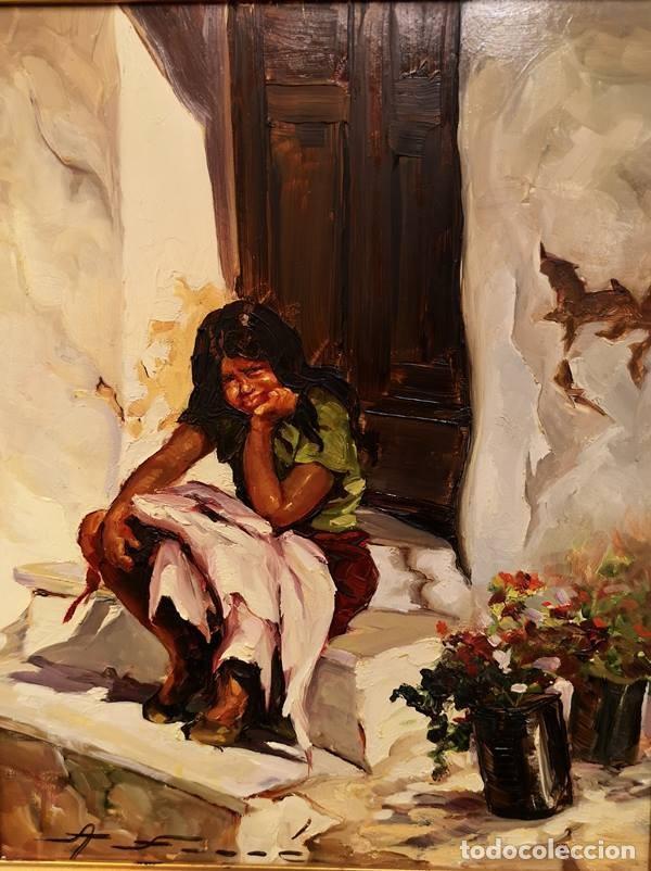 Arte: Óleo Gitanilla en el umbral de Ana Farré - Foto 2 - 152651714