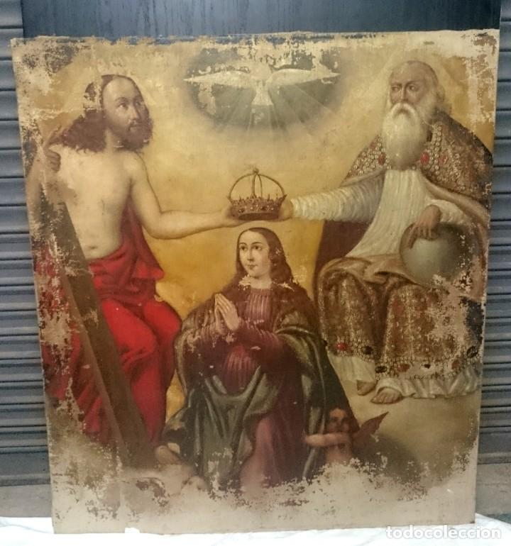 ANTIGUO ÓLEO SOBRE LIENZO DE LA CORONACIÓN DE LA VIRGEN. SIGLO XVI. 127X110 CM (Arte - Pintura - Pintura al Óleo Antigua siglo XVI)