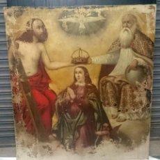 Arte: ANTIGUO ÓLEO SOBRE LIENZO DE LA CORONACIÓN DE LA VIRGEN. SIGLO XVI. 127X110 CM. Lote 176323439
