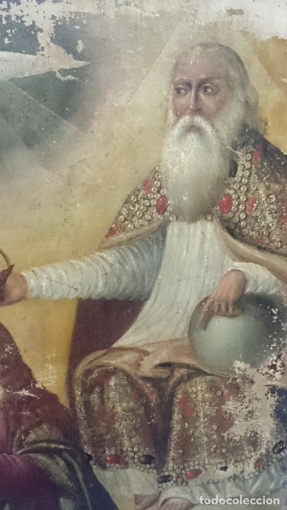 Arte: Antiguo óleo sobre lienzo de la coronación de la virgen. Siglo XVI. 127x110 cm - Foto 3 - 152690110
