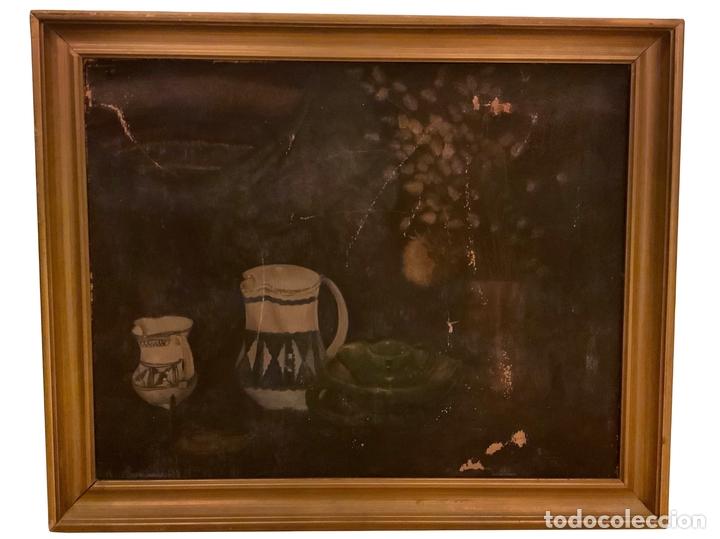 OLEO ANTIGUO , JARRAS , FLORES, PRECIOSO. (Arte - Pintura - Pintura al Óleo Contemporánea )