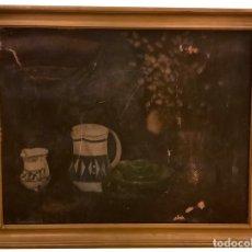 Arte: BODEGÓN ANTIGUO , JARRAS , FLORES, PRECIOSO.. Lote 152700994