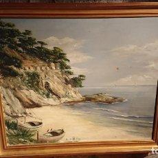 Arte: ANTIGUO CUADRO AL OLEO DE UNA MARINA POR EL PINTOR L. DEL VALLE DE LOS AÑOS 60. Lote 152835362