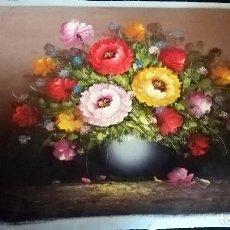 Arte: PRECIOSA OBRA ORIGINAL - JARRON CON FLORES - EN OLEO SOBRE LIENZO DE -Y DERIC - TAMAÑO 65 X 55 CM. Lote 152845306