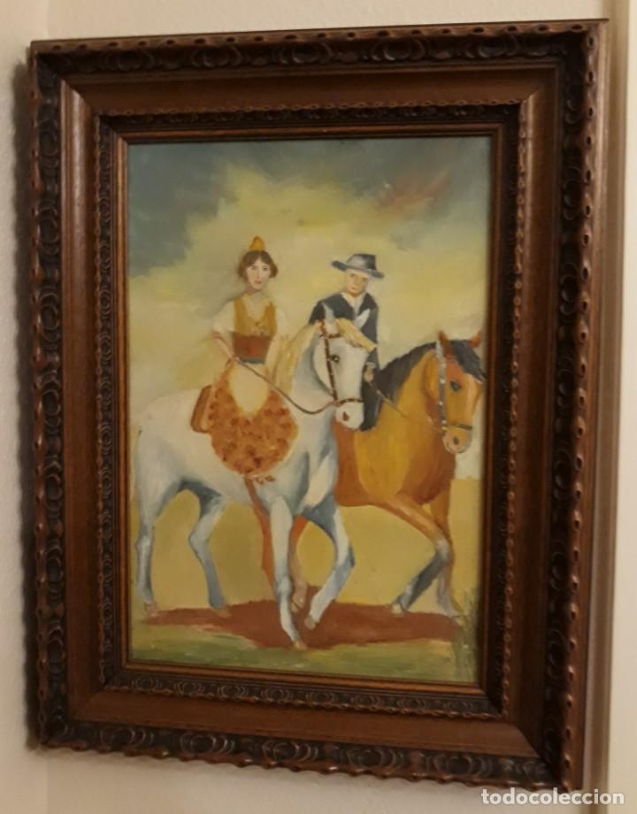 PINTURA AL OLEO PRECIOSA Y ORIGINAL CON MARCO DE MADERA ROBUSTO (Arte - Pintura - Pintura al Óleo Antigua sin fecha definida)