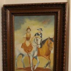 Arte: PINTURA AL OLEO PRECIOSA Y ORIGINAL CON MARCO DE MADERA ROBUSTO. Lote 152933150