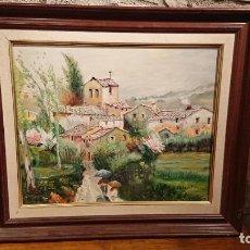 Arte: ANTIGUO CUADRO AL OLEO DE PAISAJE DE PUEBLO DEL PINTOR M.J. ALBERT AÑOS 80-90. Lote 152955742