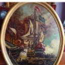 Arte: OLEO SOBRE TABLA BATALLA NAVAL PAYES. Lote 152956166