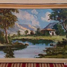Arte: ANTIGUO CUADRO AL OLEO DE PAISAJE CAMPESTRE DEL PINTOR CESAR AÑOS 60 . Lote 152969566