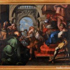 Arte: ESCUELA VENECIANA. SIG. XVII. REY SAUL ATACANDO DAVID. POSIBLEMENTE CON MANO DE PIETRO DELLA VECCHIA. Lote 153043998
