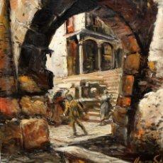 Arte: JOAN LLAURADÓ ARENAS (MATARO, 1920) OLEO SOBRE TELA. CALLE CON PERSONAJES. Lote 153085310
