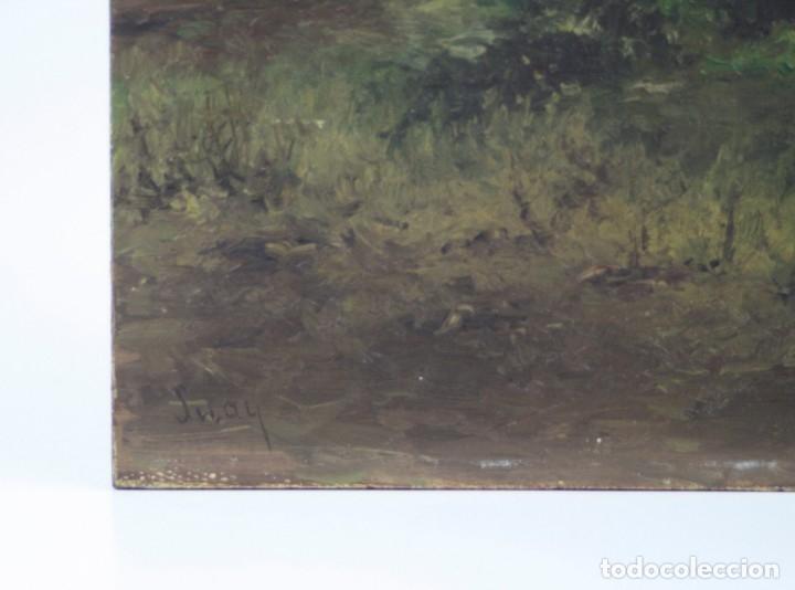 Arte: Paisaje, posiblemente los alrededores de Madrid, pintura al óleo sobre madera, firma ilegible. - Foto 3 - 153199226