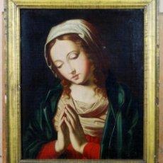 Arte: VIRGEN ORANTE ÓLEO SOBRE LIENZO SEGUIDOR DE SASSOFERRATO PRINCIPIOS DEL SIGLO XVIII. Lote 153319226