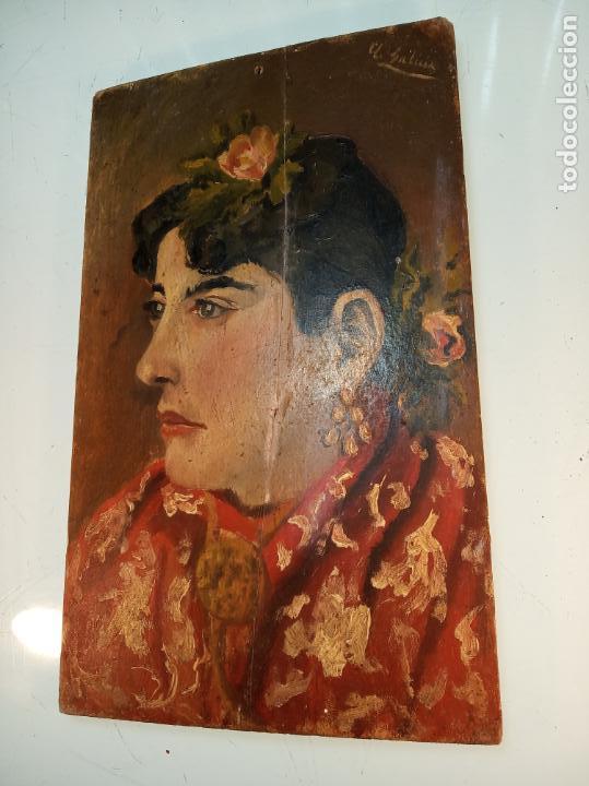 OLEO SOBRE TABLA - RETRATO MUJER ANDALUZA CON MANTÓN - FIRMADO - COSTUMBRISTA - 30 X 18 CM. (Arte - Pintura - Pintura al Óleo Antigua sin fecha definida)