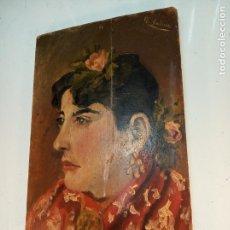 Arte: OLEO SOBRE TABLA - RETRATO MUJER ANDALUZA CON MANTÓN - FIRMADO - COSTUMBRISTA - 30 X 18 CM.. Lote 153327194