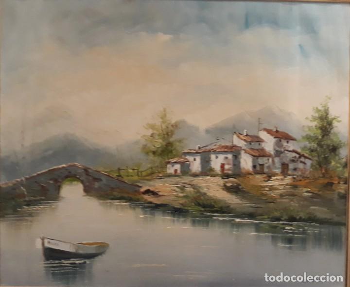 Arte: oleo paisaje enmarcado sobre lienzo, medidas: 83,5 x 73,5, robusto marco de madera - Foto 2 - 153403198