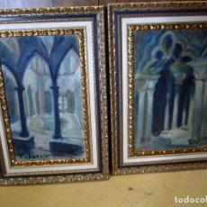 Arte: PAREJA DE CUADROS FIRMADO PASCUAL, INTERIOR RELIGIOSO . Lote 153450938