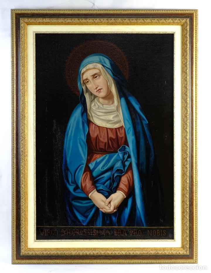 Arte: Óleo sobre lienzo pegado a táblex Virgen Dolorosa primer tercio siglo XIX - Foto 2 - 153461674