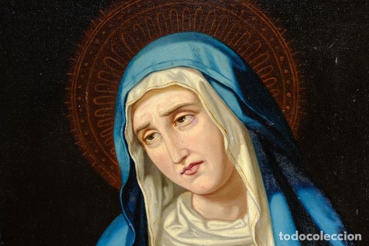Arte: Óleo sobre lienzo pegado a táblex Virgen Dolorosa primer tercio siglo XIX - Foto 3 - 153461674
