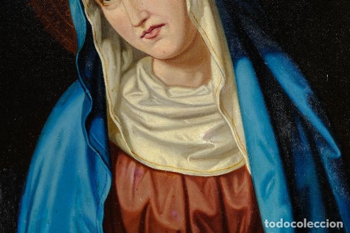 Arte: Óleo sobre lienzo pegado a táblex Virgen Dolorosa primer tercio siglo XIX - Foto 4 - 153461674