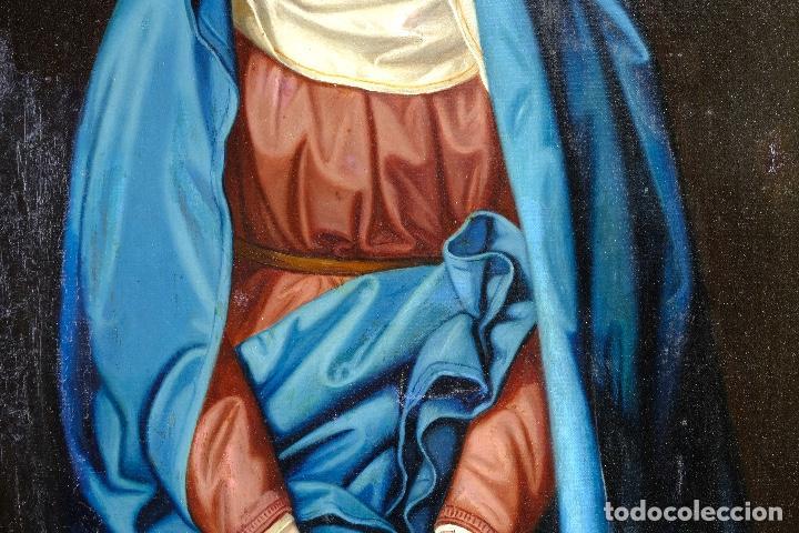 Arte: Óleo sobre lienzo pegado a táblex Virgen Dolorosa primer tercio siglo XIX - Foto 5 - 153461674