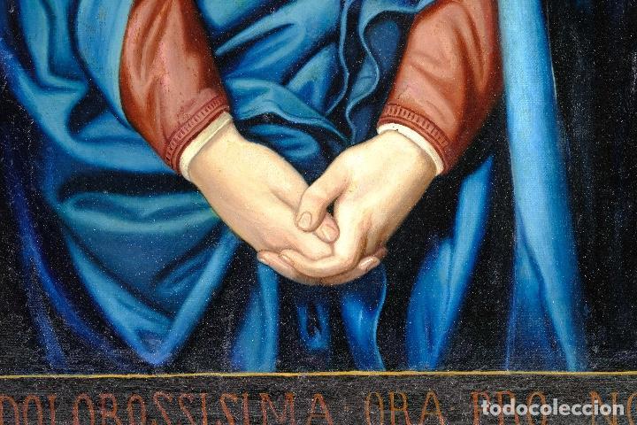 Arte: Óleo sobre lienzo pegado a táblex Virgen Dolorosa primer tercio siglo XIX - Foto 6 - 153461674