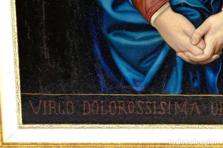 Arte: Óleo sobre lienzo pegado a táblex Virgen Dolorosa primer tercio siglo XIX - Foto 7 - 153461674