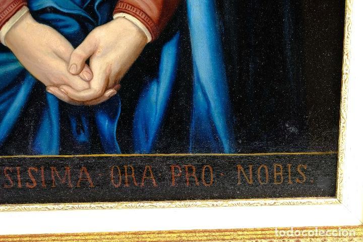 Arte: Óleo sobre lienzo pegado a táblex Virgen Dolorosa primer tercio siglo XIX - Foto 8 - 153461674