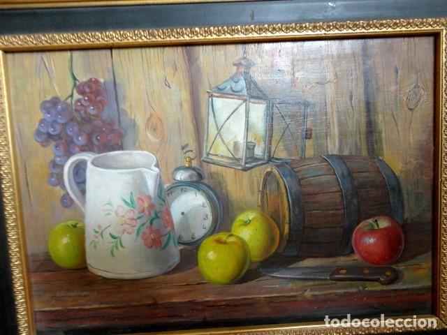 Arte: Cuadro antiguo bodegon manzanas y barril - Foto 2 - 153465314