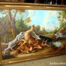 Arte: CUADRO ANTIGUO ESCENA DE CAZA VENADO CON PERROS, FIRMADO CUADRO ANTIGUO ESCENA DE CAZA VENADO CON P. Lote 153468654