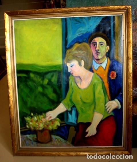 CUADRO IMPRESIONISTA, PAREJA CON MACETA (Arte - Pintura - Pintura al Óleo Contemporánea )