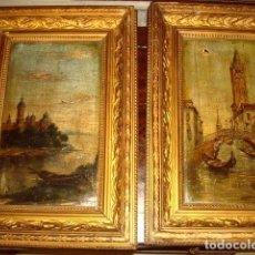 Arte: PAREJA DE OLEOS SOBRE TABLA ANTIGUOS, ESCENAS DE VENECIA . Lote 153470970