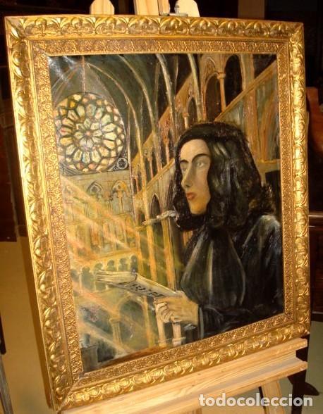 Arte: Cuadro mujer en catedral. - Foto 2 - 153473302