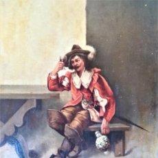Arte: PINTURA,OLEO SOBRE TABLA,SIGLO XIX,CABALLERO CON ESPADA Y COPA,PINTOR JOAQUIN ESPALTER RULL,FIRMADO. Lote 153495762