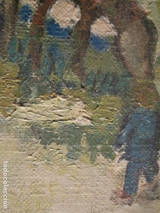 Arte: ANTIGUO OLEO PINTURA ANTIGUA MPRESIONISTA en lienzo principios siglo acepto ofertas - Foto 7 - 163806458