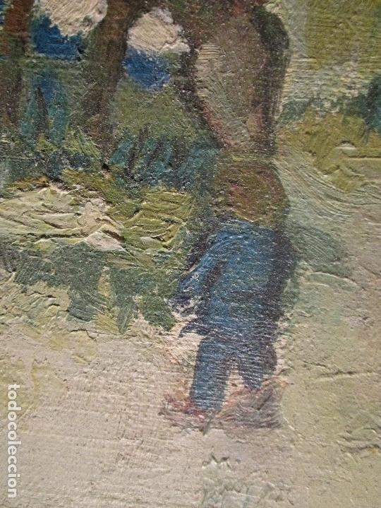 Arte: ANTIGUO OLEO PINTURA ANTIGUA MPRESIONISTA en lienzo principios siglo acepto ofertas - Foto 15 - 163806458