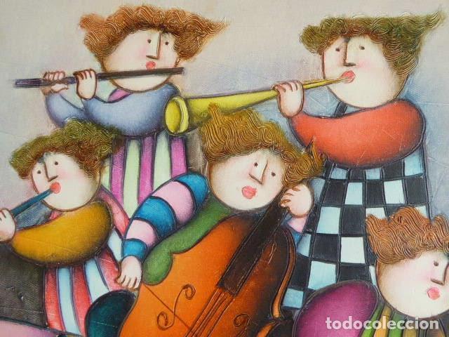 Arte: EXCELENTE PAREJA DE OLEOS SOBRE LIENZO DE J. ROYBAL. SERIE DE MUSICOS. 43 X 52 CM C/U MEDIDAS CON - Foto 5 - 153531078