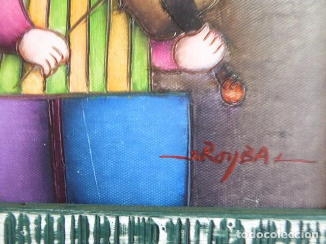 Arte: EXCELENTE PAREJA DE OLEOS SOBRE LIENZO DE J. ROYBAL. SERIE DE MUSICOS. 43 X 52 CM C/U MEDIDAS CON - Foto 8 - 153531078