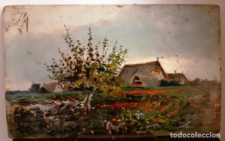 Arte: Precioso paisaje valenciano. Pequeño óleo sobre tabla del siglo XIX - Foto 2 - 153573378