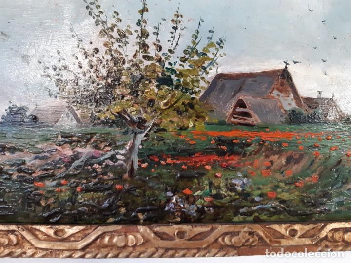 Arte: Precioso paisaje valenciano. Pequeño óleo sobre tabla del siglo XIX - Foto 3 - 153573378