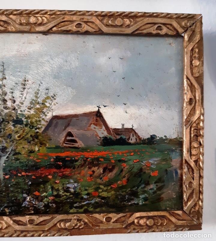 Arte: Precioso paisaje valenciano. Pequeño óleo sobre tabla del siglo XIX - Foto 6 - 153573378