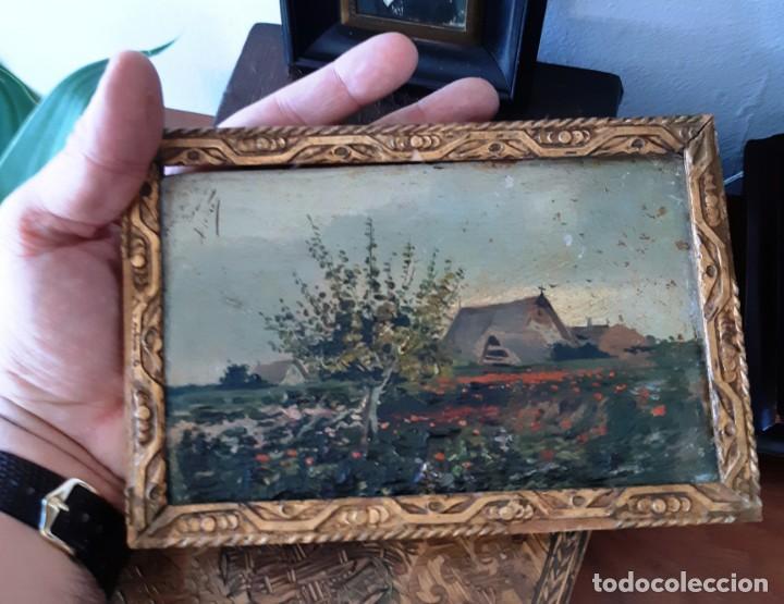 Arte: Precioso paisaje valenciano. Pequeño óleo sobre tabla del siglo XIX - Foto 11 - 153573378
