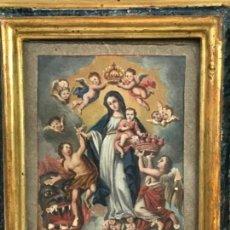 Arte: VIRREINATO DE LA NUEVA ESPAÑA. OLEO EN VITELA MADRE SANTÍSIMA DE LA LUZ. MARCO DE ÉPOCA S.G.XVIII. Lote 153660378