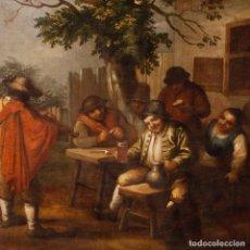 Arte: ANTIGUA PINTURA FLAMENCA DE ESCENA POPULAR CON PERSONAJES DEL SIGLO XVIII.. Lote 153671686