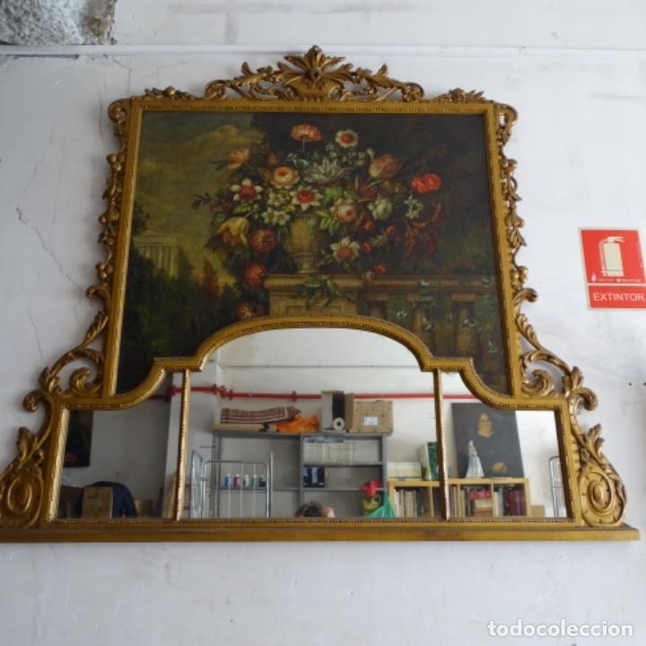 ÓLEO ANONIMO DEL SIGLO XVIII-XIX CON MUEBLE DE MADERA TALLADO Y ESPEJOS.GRAN CALIDAD. (Arte - Pintura - Pintura al Óleo Moderna siglo XIX)