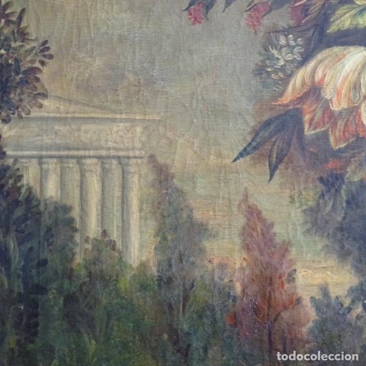 Arte: Óleo anonimo del siglo xviii-xix con mueble de madera tallado y espejos.gran calidad. - Foto 6 - 153742766