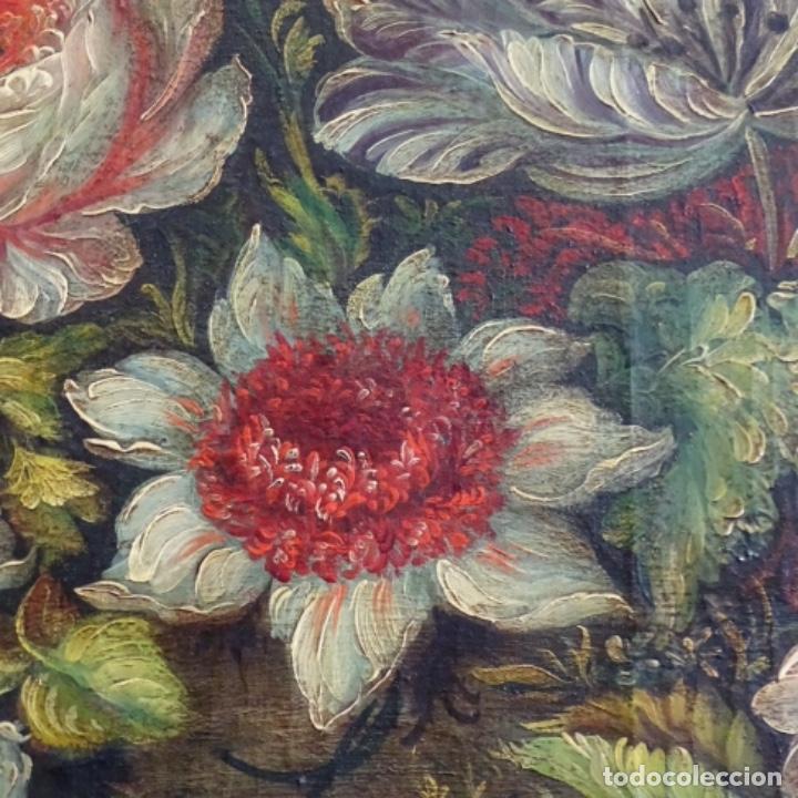 Arte: Óleo anonimo del siglo xviii-xix con mueble de madera tallado y espejos.gran calidad. - Foto 8 - 153742766